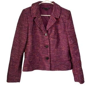 Lafayette 148 Purple Tweed Career Blazer Button Up